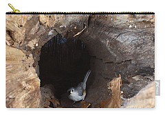 Tufted Titmouse In A Log Carry-all Pouch