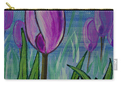Tulips In The Mist Carry-all Pouch by Mick Anderson
