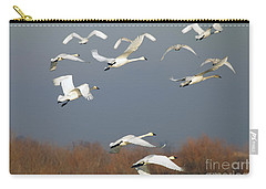 Tundra Swan Takeoff Carry-all Pouch by Mike  Dawson