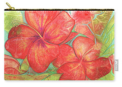 Carry-all Pouch featuring the painting Two Hibiscus Blossoms by Carla Parris