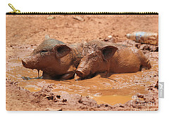 Carry-all Pouch featuring the photograph Two Pigs In A Puddle by Nola Lee Kelsey