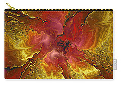 Vibrant Red And Gold Carry-all Pouch