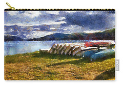 Carry-all Pouch featuring the painting View Of The Lake From Camp Dorset by Mario Carini