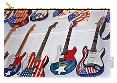 Carry-all Pouch featuring the photograph Vintage American Flag Guitars Art Prints by Valerie Garner