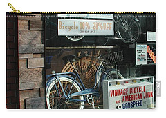 Vintage Bicycle And American Junk  Carry-all Pouch