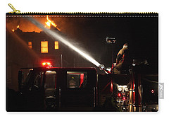 Carry-all Pouch featuring the photograph Water On The Fire From Pumper Truck by Daniel Reed