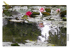 Carry-all Pouch featuring the digital art Waterlilies by Victoria Harrington
