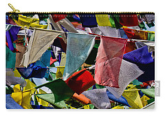 Carry-all Pouch featuring the photograph Waving Prayer Flags by Don Schwartz