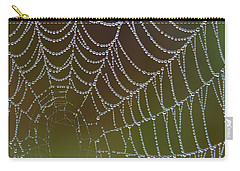 Carry-all Pouch featuring the photograph Web With Dew by Daniel Reed
