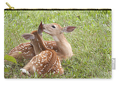 Carry-all Pouch featuring the photograph Whispering Fawns by Jeannette Hunt