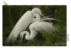 White Egrets Working Together Carry-all Pouch by Myrna Bradshaw