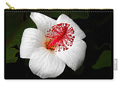 Carry-all Pouch featuring the photograph White Hibiscus Flower by Rebecca Margraf