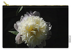 White On Black Peony Carry-all Pouch