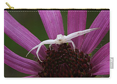 Carry-all Pouch featuring the photograph Whitebanded Crab Spider On Tennessee Coneflower by Daniel Reed