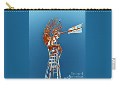 Windmill Rust Orange With Blue Sky Carry-all Pouch