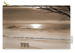 Winter Beach Morning Sepia Carry-all Pouch by Bill Pevlor