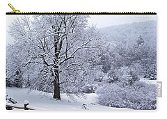 Winter Tree And Fence In The Valley Carry-all Pouch