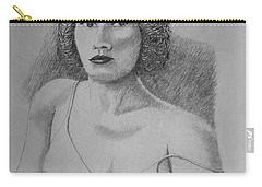 Carry-all Pouch featuring the drawing Woman With Strap Off Shoulder by Daniel Reed