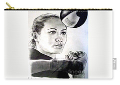 Carry-all Pouch featuring the drawing Woman's Boxing Champion Filipino American Ana Julaton by Jim Fitzpatrick
