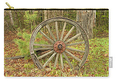 Carry-all Pouch featuring the photograph Wood Spoked Wheel by Sherman Perry