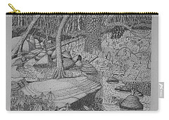 Carry-all Pouch featuring the drawing Woodland Stream by Daniel Reed
