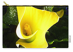 Carry-all Pouch featuring the photograph Yellow Calla Lily by Carla Parris