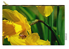 Carry-all Pouch featuring the photograph Yellow Daffodils And Honeybee by Kay Novy