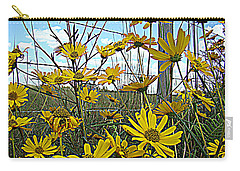Carry-all Pouch featuring the photograph Yellow Flowers By The Roadside by Alice Gipson