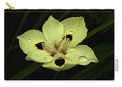 Yellow Iris With Rain Drops Carry-all Pouch