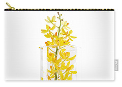 Carry-all Pouch featuring the photograph Yellow Orchid In Vase by Atiketta Sangasaeng