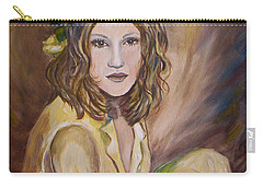 Carry-all Pouch featuring the painting Yellow Rose by Julie Brugh Riffey