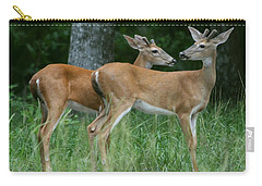 Carry-all Pouch featuring the photograph Young Bucks by Myrna Bradshaw