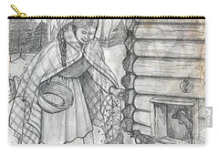 Young Girl Feeding The Chickens In The 1800's Carry-all Pouch by Francine Heykoop