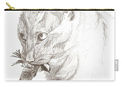 Cat And Chickadee Carry-all Pouch