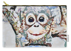 Monkey Rainbow Splattered Fragmented Blue Carry-all Pouch