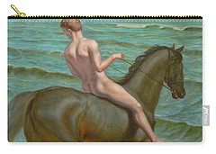 Original Oil Painting Gay Man Art Male Nude  Boy And Horse #16-2-5-15 Carry-all Pouch