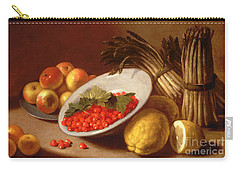 Still Life Of Raspberries Lemons And Asparagus  Carry-all Pouch by Italian School