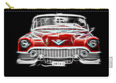 Vintage Car Carry-all Pouch featuring the photograph  Vintage Red Cadillac by Aaron Berg