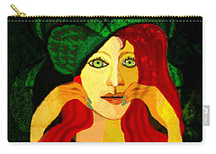 1903 - Sweet Girl With Ozean Colored  Eyes 2017 Carry-all Pouch by Irmgard Schoendorf Welch