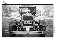 Carry-all Pouch featuring the photograph 1929 Ford Model A Tudor Police Sedan Bw by Rich Franco