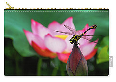 A Dragonfly On Lotus Flower Carry-all Pouch