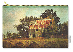 Abandoned Countryside Barn And Hay Rolls Carry-all Pouch