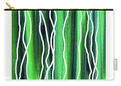Abstract Lines On Green Carry-all Pouch