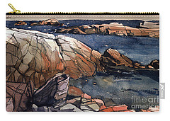 Carry-all Pouch featuring the painting Acadia Rocks by Donald Maier