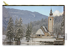 Carry-all Pouch featuring the photograph Alpine Winter Clarity by Ian Middleton