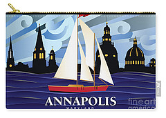 Annapolis Skyline Red Sail Boat Carry-all Pouch