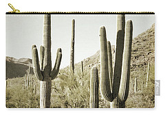 Carry-all Pouch featuring the photograph Arizona Cactus Pair Desert by Andrea Hazel Ihlefeld
