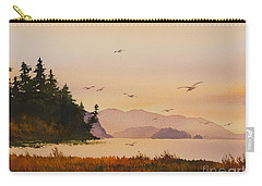 Carry-all Pouch featuring the painting Autumn Shore by James Williamson