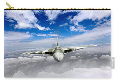 Carry-all Pouch featuring the digital art Avro Vulcan Head On Above Clouds by Gary Eason
