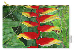 Carry-all Pouch featuring the painting Balinese Heliconia Rostrata by Melly Terpening